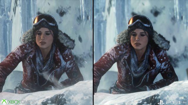 PS4Pro XboxOneX グラフィック 比較 ライズオブトゥームレイダー ハードに関連した画像-03