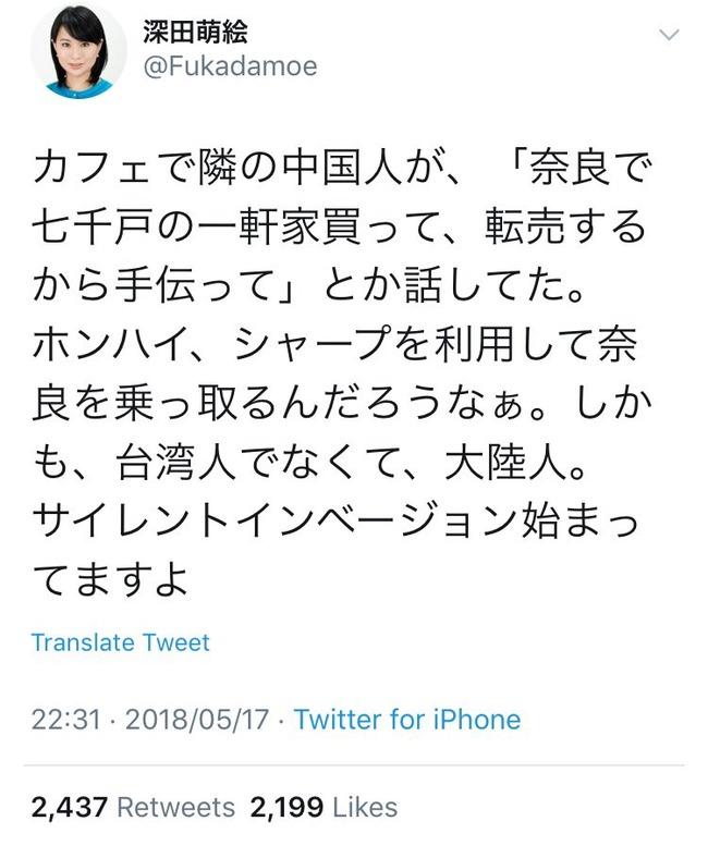 深田萌絵 中国人 嘘松 ネトウヨ 陰謀に関連した画像-04