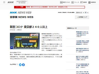 東京 新型コロナウイルス 感染者 240人以上に関連した画像-02