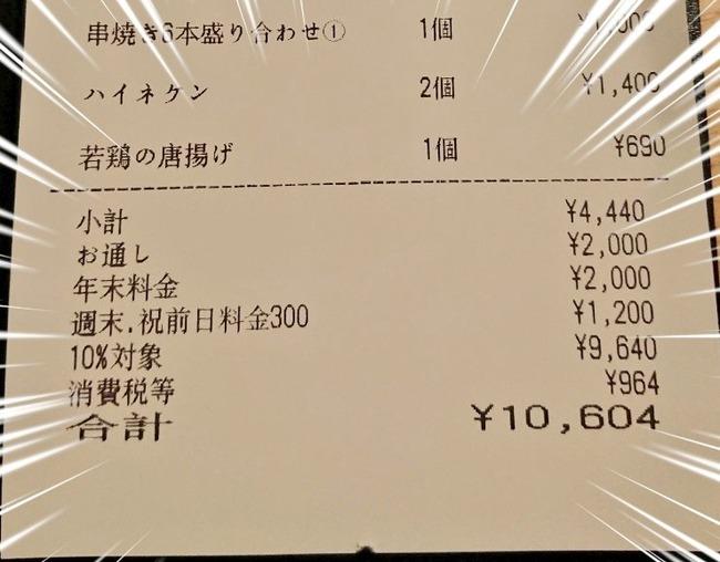 居酒屋 ボッタクリ お通し 年末料金 串荘 新宿に関連した画像-03