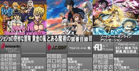秋アニメ ランキング ゾンビランドサガ ジョジョ SAOに関連した画像-01