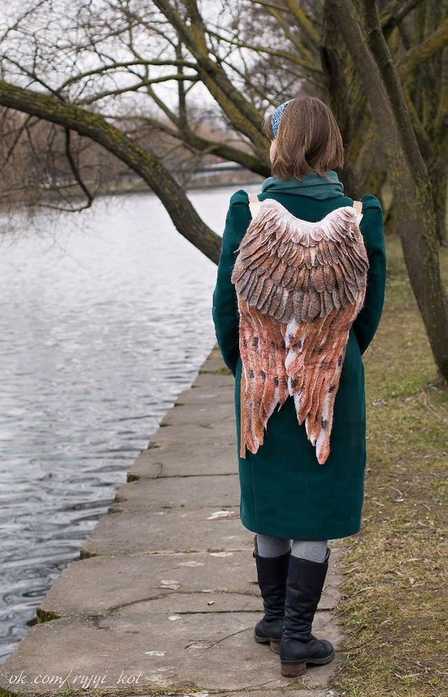 羽 バックパック 鳥の羽 リュックサック 鞄に関連した画像-12