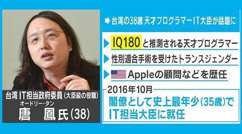 台湾 オードリー・タン 訪日中止 新型コロナ 感染対策 協力に関連した画像-01