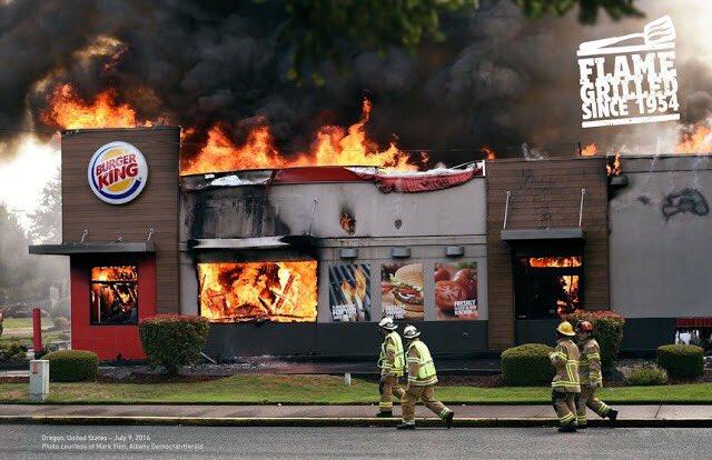 バーガーキング 直火焼き 広告 火事に関連した画像-02