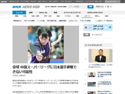 卓球 中国スーパーリーグ 日本人参加不可に関連した画像-02
