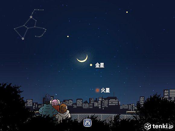 夜空 天体観測 月 金星 火星に関連した画像-01