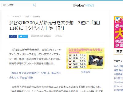 渋谷 JK 新元号 予想 回答に関連した画像-02