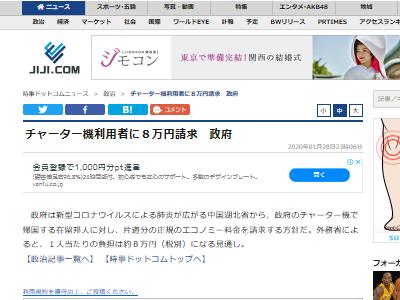 新型肺炎 コロナウイルス 中国 武漢 邦人 日本人 チャーター機 有料 8万円に関連した画像-02