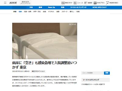 東京 新型コロナ 感染者 急増 入院 調整 限界 自宅待機 相次ぐに関連した画像-02