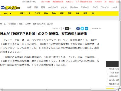日本 安倍晋三 外国 2位に関連した画像-02