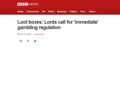 イギリス 貴族院賭博委員会 ゲーム 課金 ガチャ 賭博法 規制されるべきに関連した画像-02