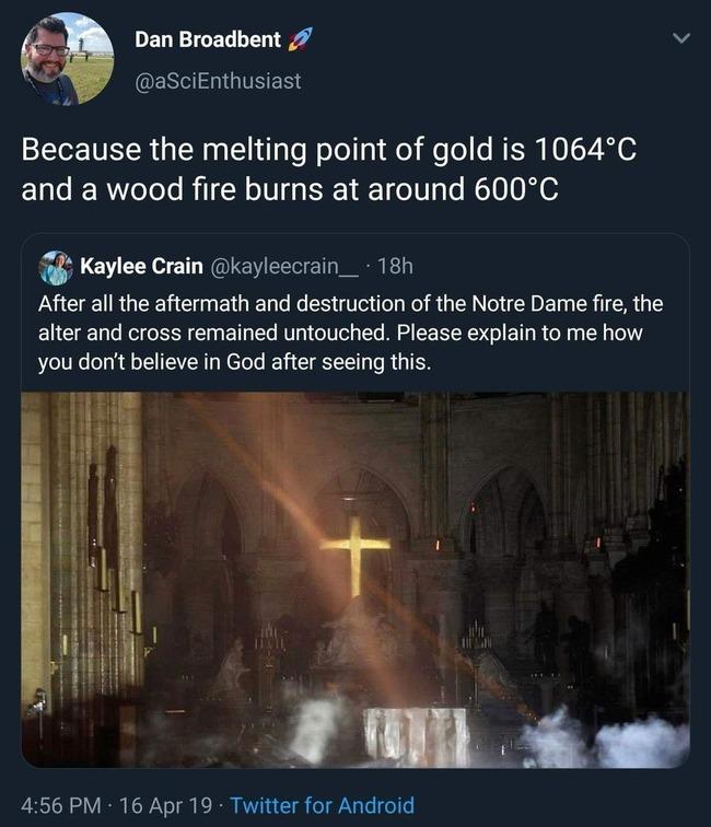 ノートルダム大聖堂 火災 十字架 融点 神 御業に関連した画像-02