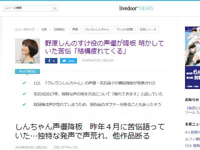 クレヨンしんちゃん 野原しんのすけ 矢島晶子 降板 苦悩に関連した画像-02