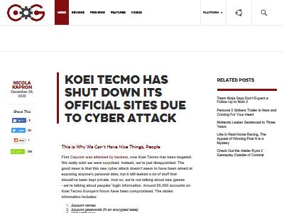 コーエーテクモ アメリカ ヨーロッパ サイバー攻撃 ハッキング被害に関連した画像-02