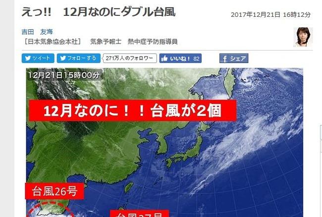 ダブル台風 台風 12月 異常気象 台風26号 台風27号に関連した画像-02