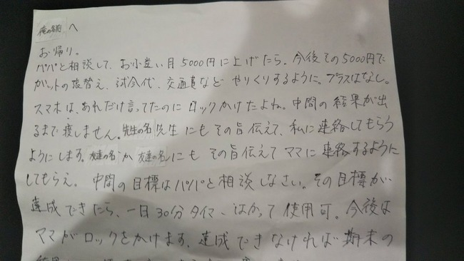 子供 学生 ツイッター 監視 親 ブチギレ 手紙に関連した画像-02
