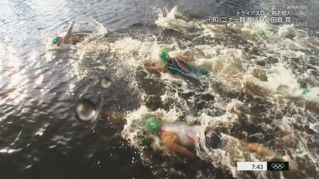 東京五輪 トライアスロン スタート ボート 嘔吐 汚水に関連した画像-02