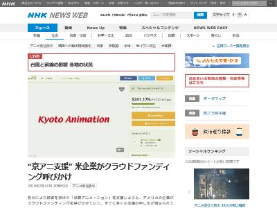 京アニ支援 京都アニメーション 米企業 クラウドファンディングに関連した画像-02