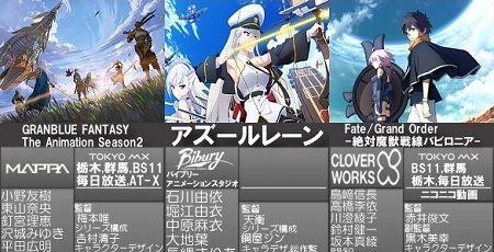 2019年秋アニメ FGO アズールレーン サイコパス グラブルに関連した画像-01