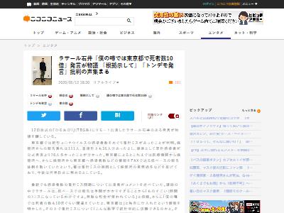 ラサール石井東京コロナ死者数に関連した画像-02