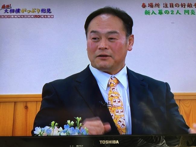 相撲 朝日山親方 ネクタイ ポプテピピック 特番に関連した画像-02