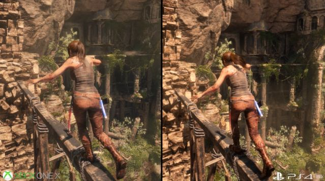 PS4Pro XboxOneX グラフィック 比較 ライズオブトゥームレイダー ハードに関連した画像-06