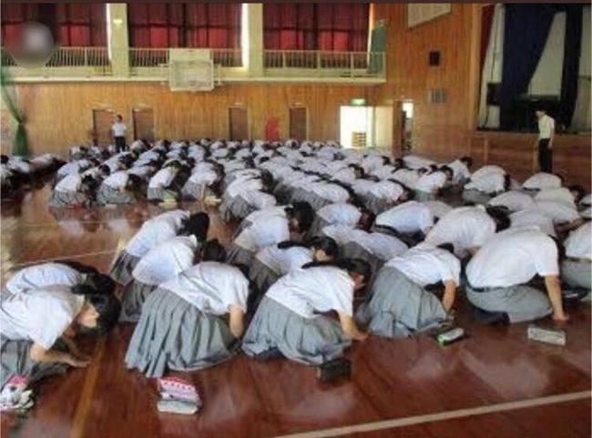 商業高校 集会 正座 女子高校 人作りの学校に関連した画像-02