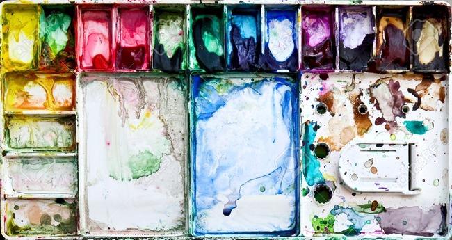 9487121-汚れた水彩画と絵画パレット-ボックス