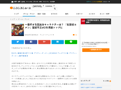 アニメ ランキング 関西弁 キャラクター 名探偵コナン 読者アンケートに関連した画像-02