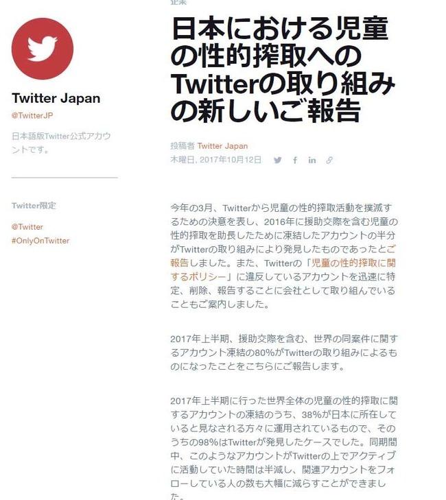 児童ポルノ ツイッター社 世界 凍結 児童 性的搾取 アカウント 日本人 ロリコンに関連した画像-03