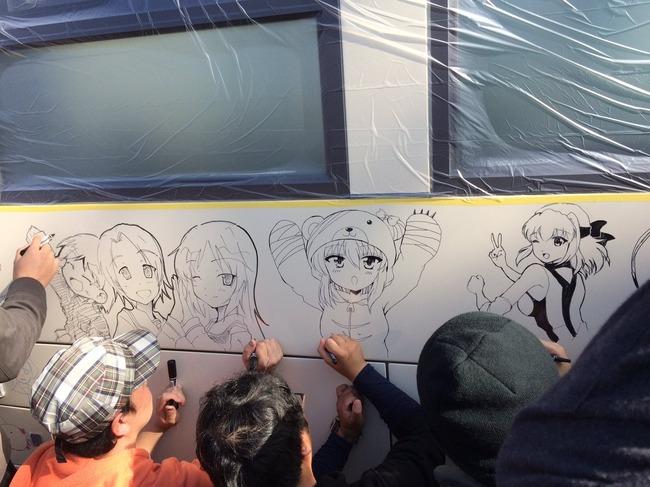 ガルパン ガールズアンドパンツァー あんこう祭 らくがきバス 絵師に関連した画像-05