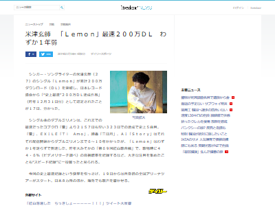 米津Lemon200万ダウンロードに関連した画像-02