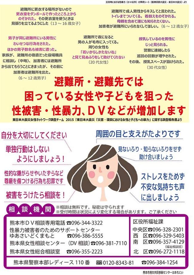 熊本地震 避難所 性暴力 DV 多発 注意喚起 男子 見て見ぬふりに関連した画像-03