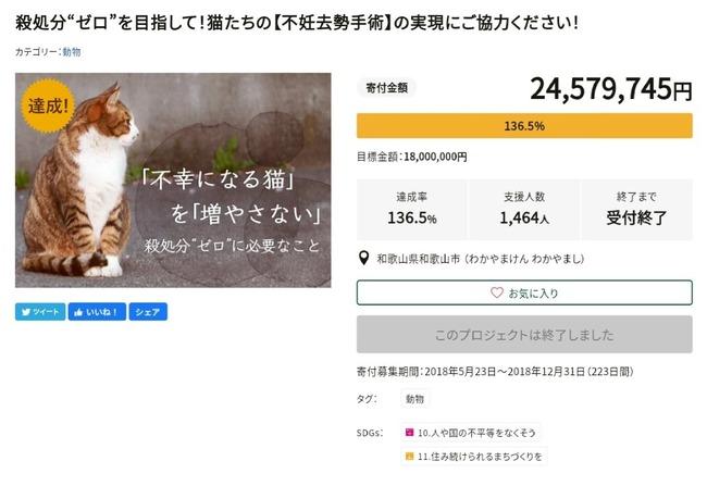 和歌山市 猫 動物愛護 クラウドファンディング 不正に関連した画像-02