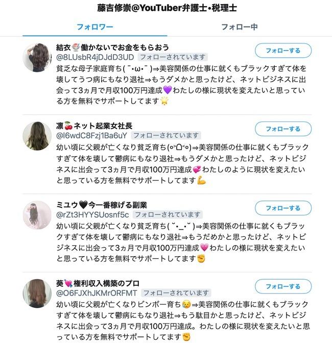 詐欺 ツイッター アカウント ネットビジネス フォロー bot 貧乏育ち 美容関係に関連した画像-02