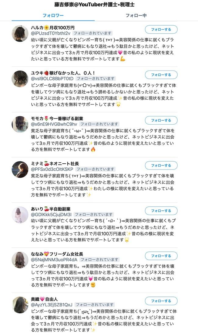 詐欺 ツイッター アカウント ネットビジネス フォロー bot 貧乏育ち 美容関係に関連した画像-03