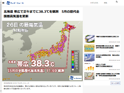 北海道 38度 5月最高気温更新に関連した画像-02