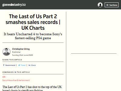 ラストオブアス2 イギリス UKチャート 売上に関連した画像-02