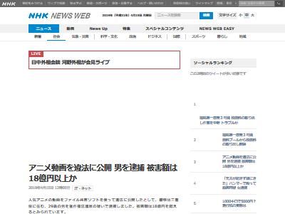 アニメ動画 違法アップロード 韓国人逮捕に関連した画像-02