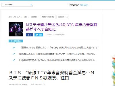 BTS 防弾少年団 原爆 Tシャツ ミュージックステーション 紅白 FNS歌謡祭に関連した画像-02