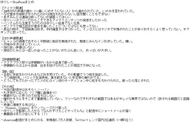ゆりしー 萩原雪歩 アイドルマスター 長谷優里奈 落合祐里香 暴露 いじめ 枕営業に関連した画像-02