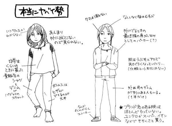オタク女子 オタク ファッション 図解 一般人 擬態に関連した画像-05