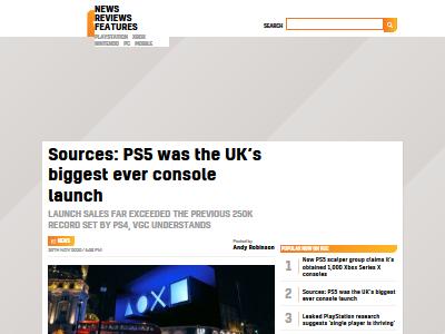 イギリス PS5 家庭用ゲーム機史上最大 ローンチ達成に関連した画像-02