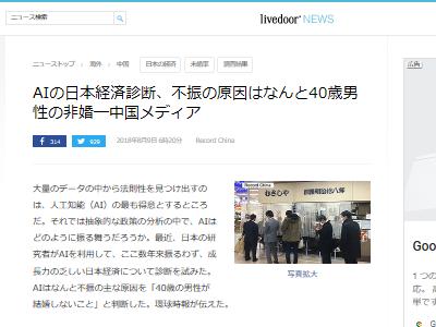 日本経済 不振 原因 40代 男性 未婚率 AI 人工知能に関連した画像-02