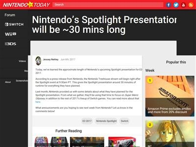 E3 2017 任天堂 ニンテンドーダイレクト 短い 30分に関連した画像-02