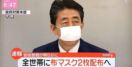 安倍首相「えー国のお金を使って、全世帯にマスク2枚だけ配布します!」←非難殺到