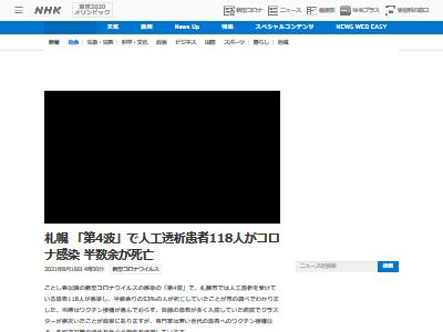 北海道 札幌 人工透析患者 新型コロナ 感染 クラスター 半数 死亡に関連した画像-02
