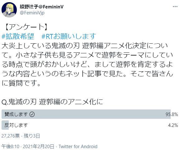 フェミニスト 鬼滅の刃 遊郭編 賛成 反対 アニメ化 アンケート ツイッターに関連した画像-02