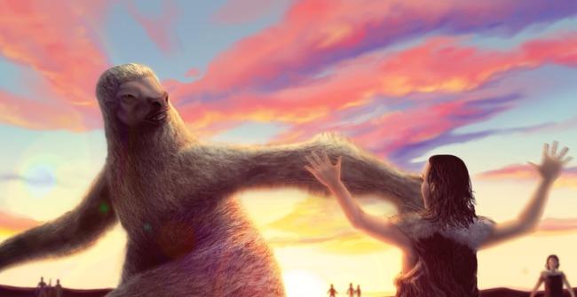 古代人 巨大ナマケモノ 死闘に関連した画像-01