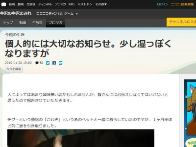 牛沢 デグー こむぎくん 死去 訃報に関連した画像-02